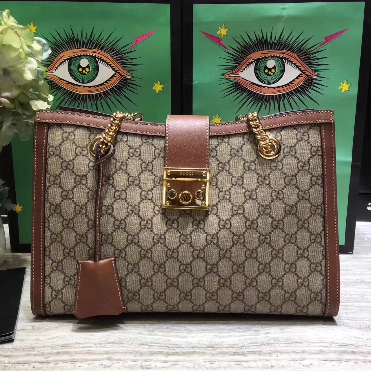Original Quality Gucci 479197 Padlock Medium GG Supreme Canvas Shoulder Bag Brown