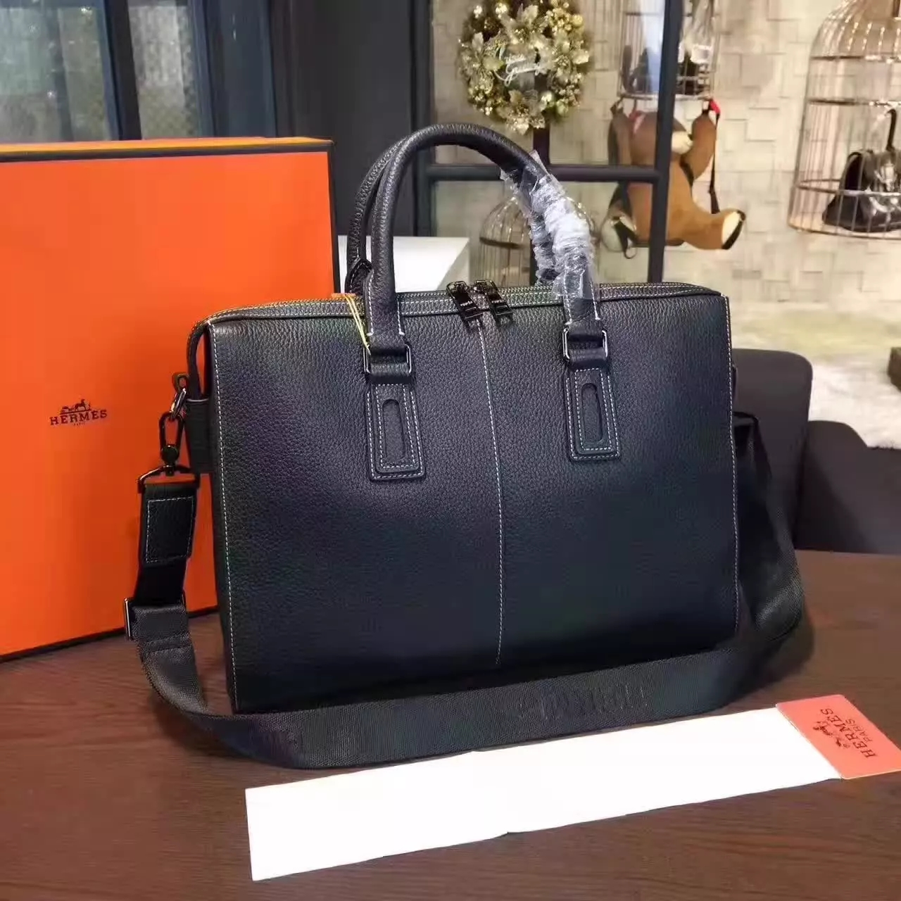 Original Quality Hermes 802-2 Leather Men Briefcase Black