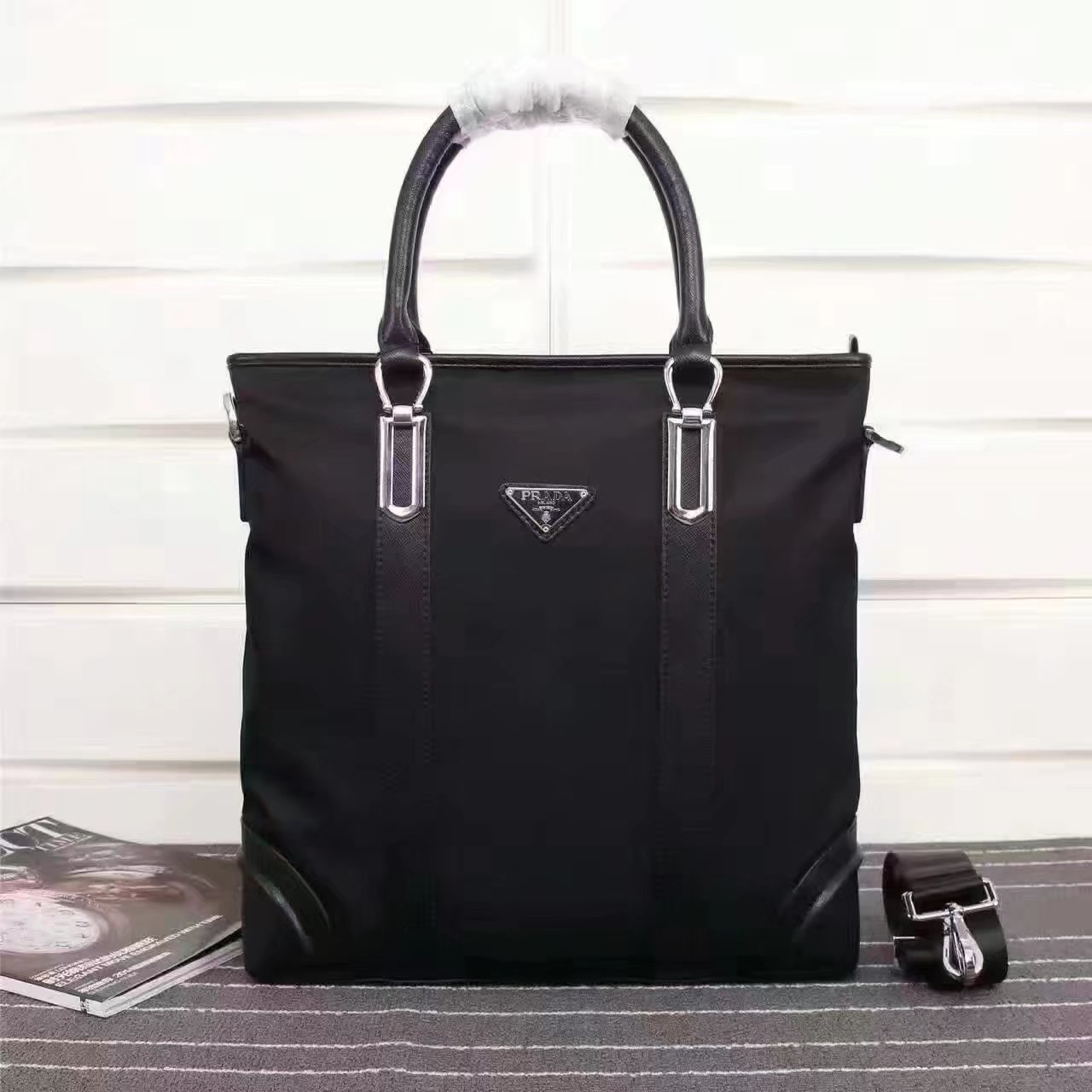 Prada 0017 Men Tote With Saffiano Leather Trim and Handles