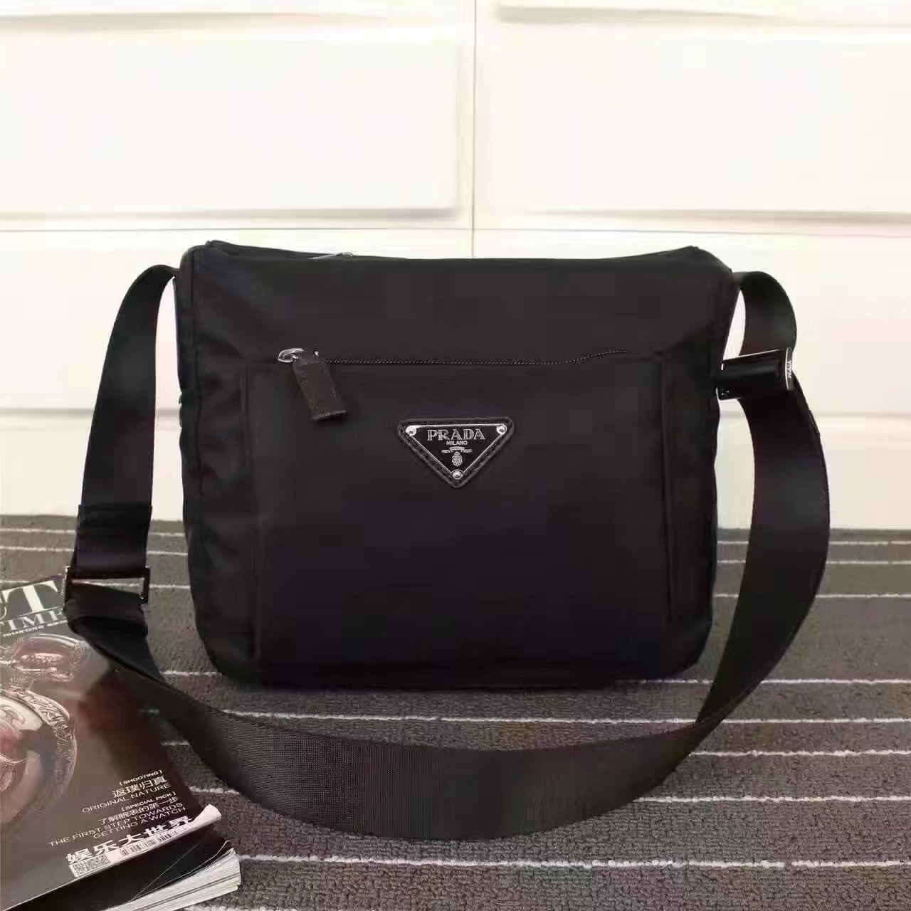 Prada 0909 Men Nylon Messenger Bag