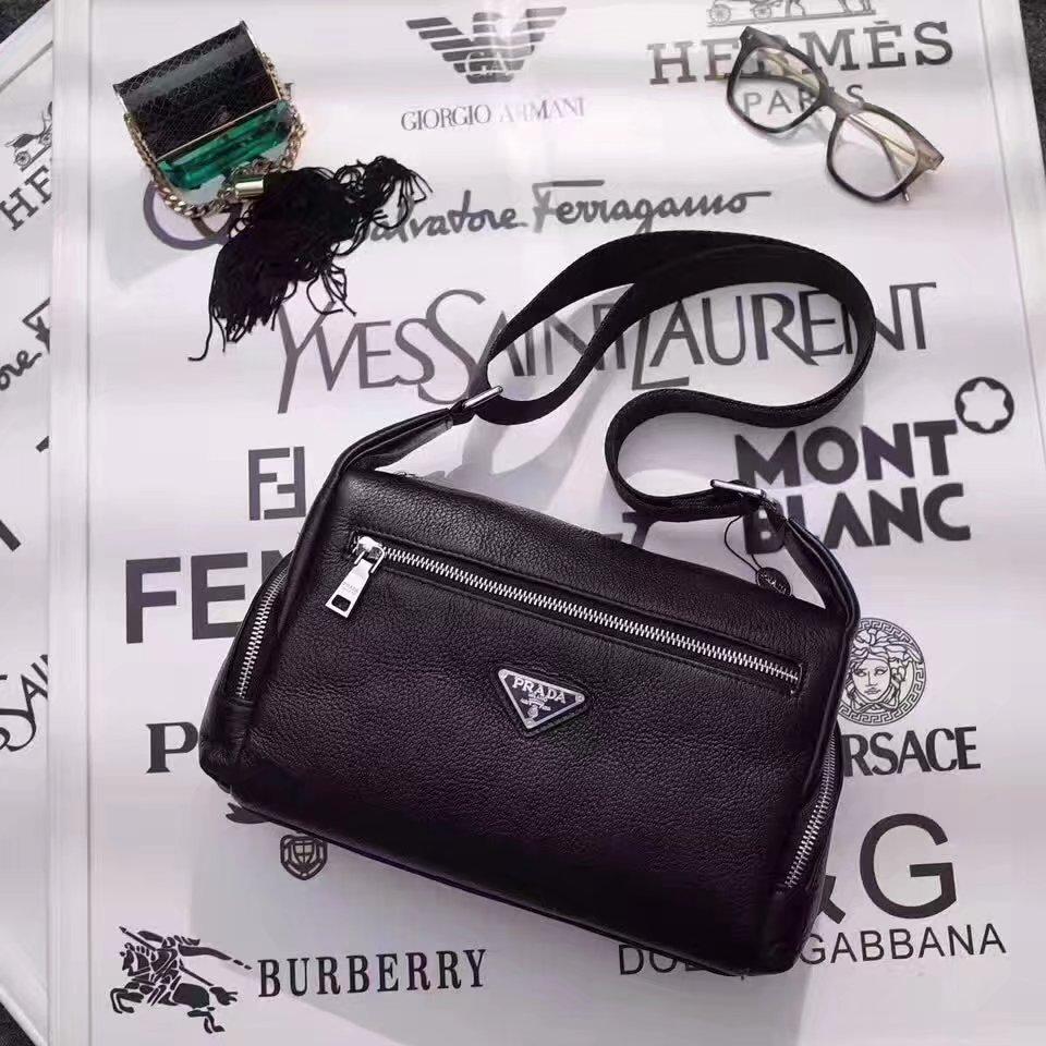 Prada 167 Men Leather Mini Messenger Bag Black