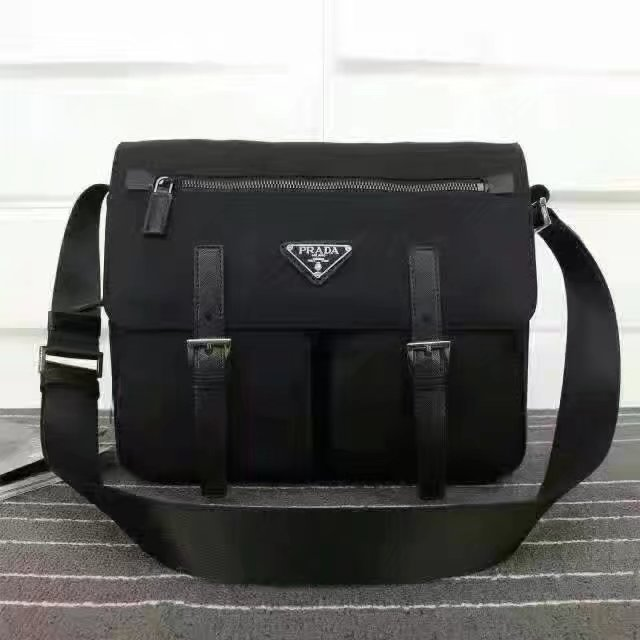 Prada 1738 Men Messenger Bag Black