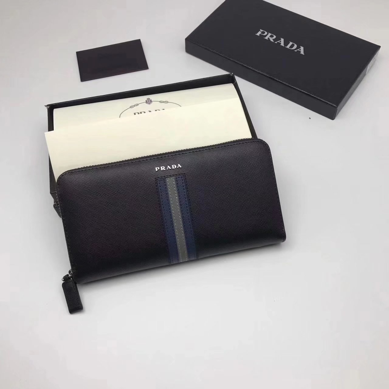Prada 2M1317 Men Document Holder Saffiano Leather Long Wallet Black
