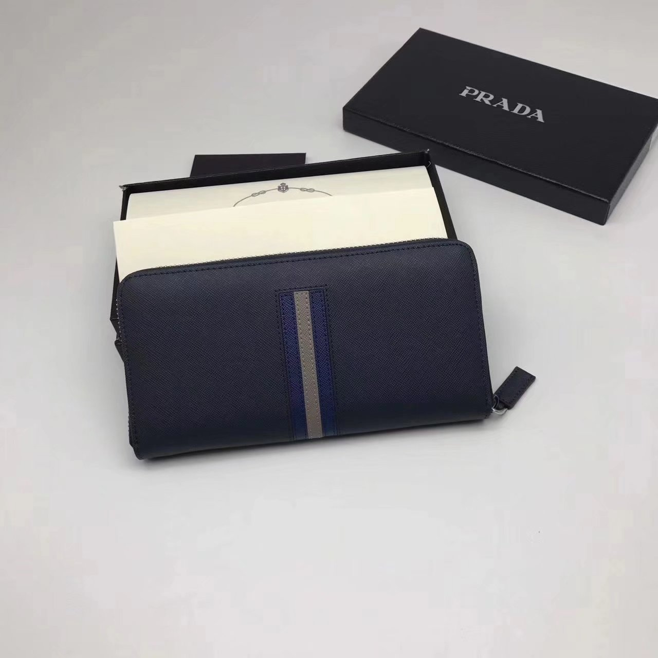 Prada 2M1317 Men Document Holder Saffiano Leather Long Wallet Blue