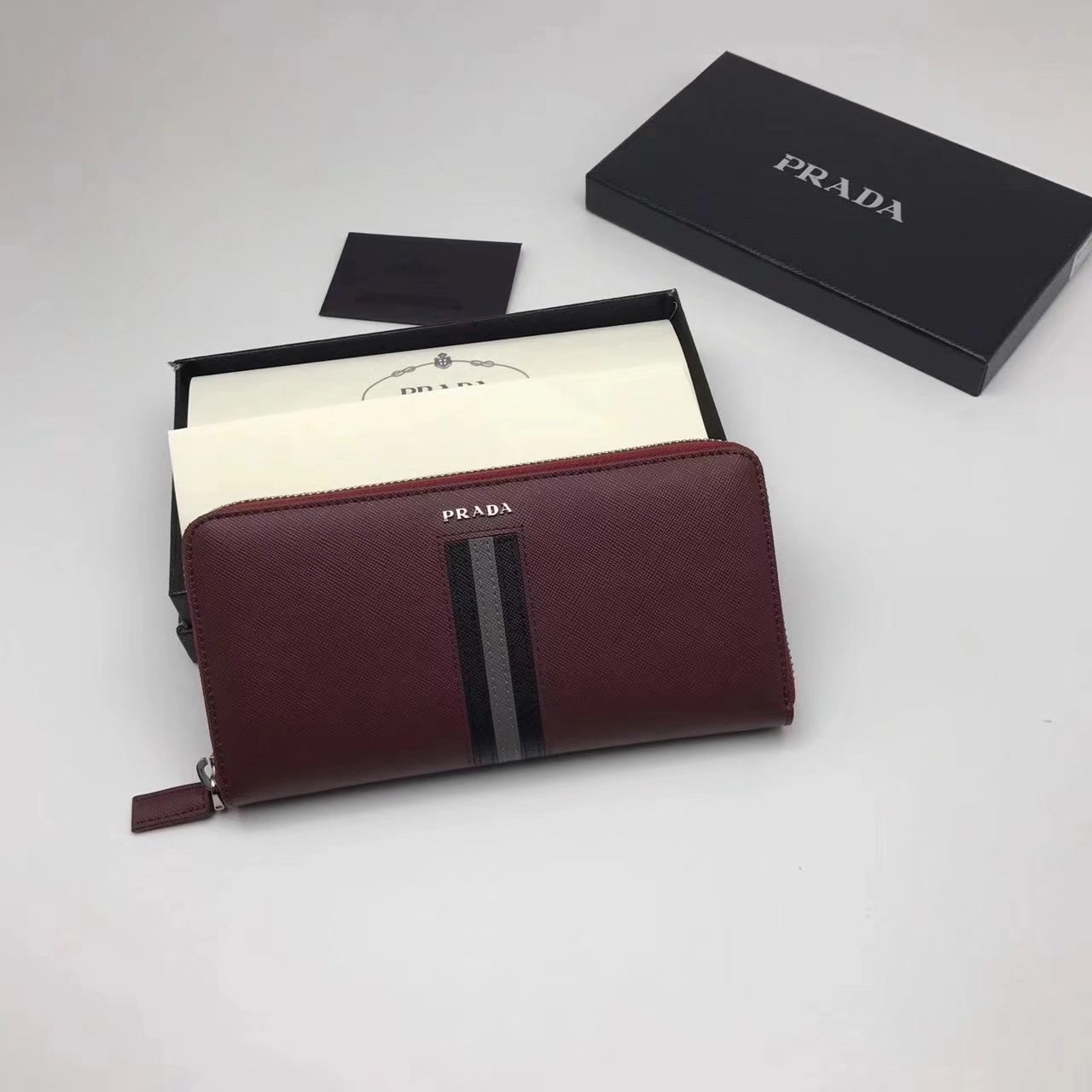Prada 2M1317 Men Document Holder Saffiano Leather Long Wallet Red