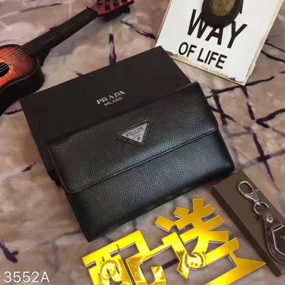 Prada 3552A Black Leather Flap Clutch Bag