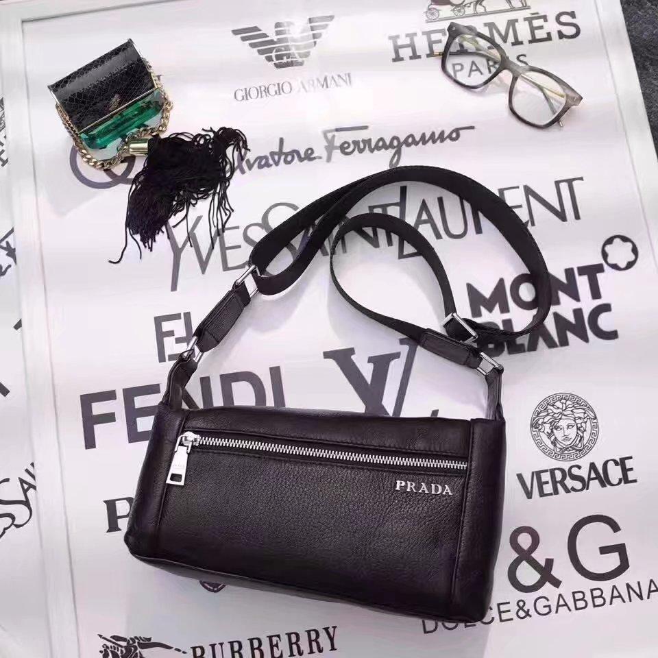 Prada 6003 Men Leather Mini Messenger Bag Black