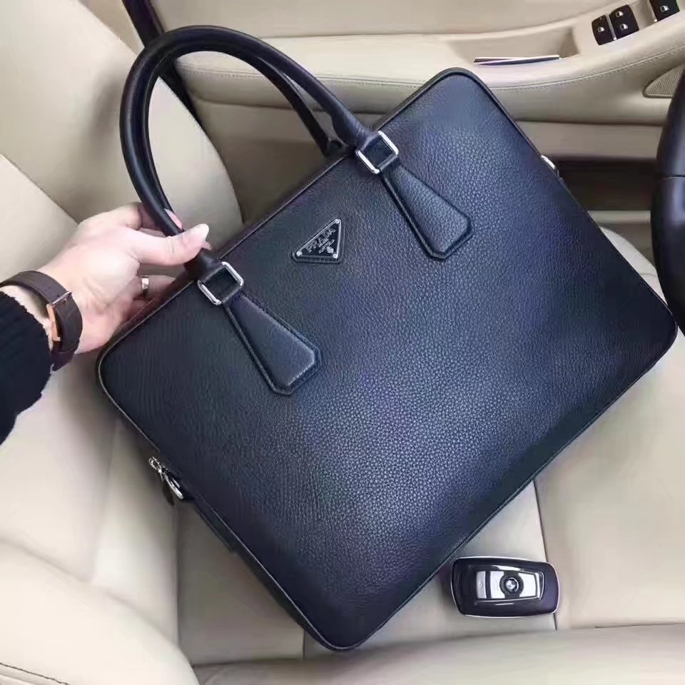 Prada 8082-1 Leather Men Briefcase Bag Black