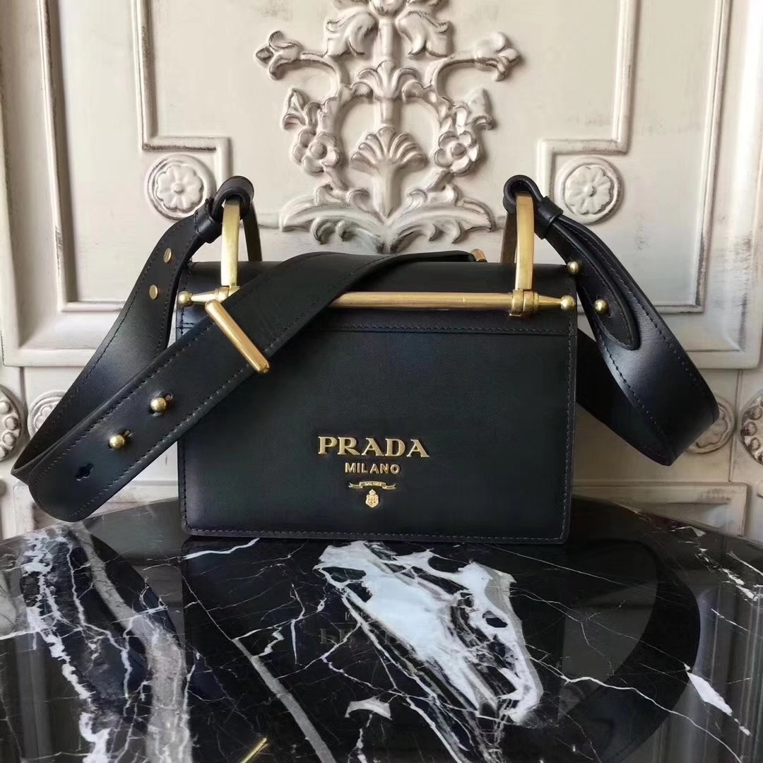 Prada Bronze Hardware Leather Shoulder Bag Black