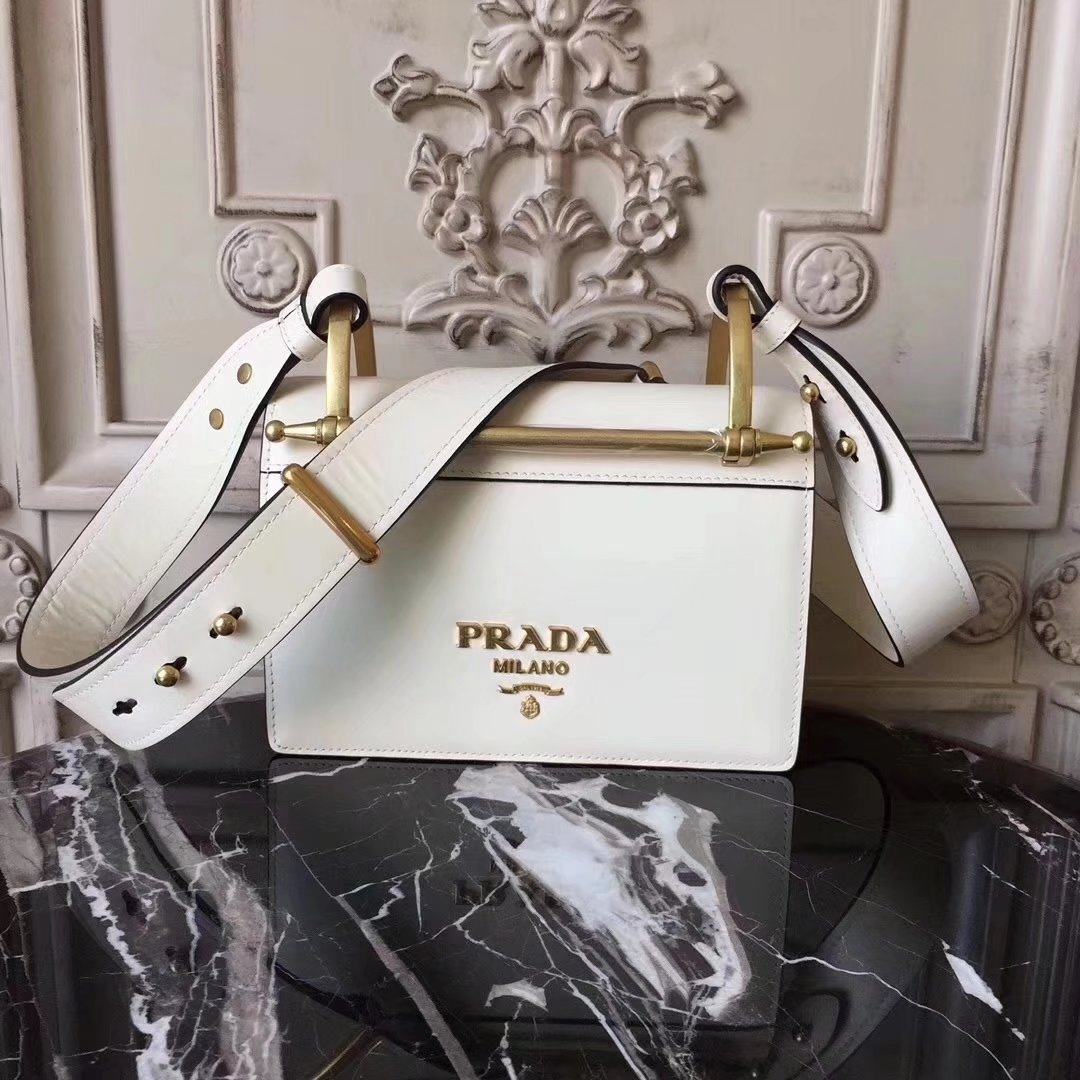 Prada Bronze Hardware Leather Shoulder Bag White