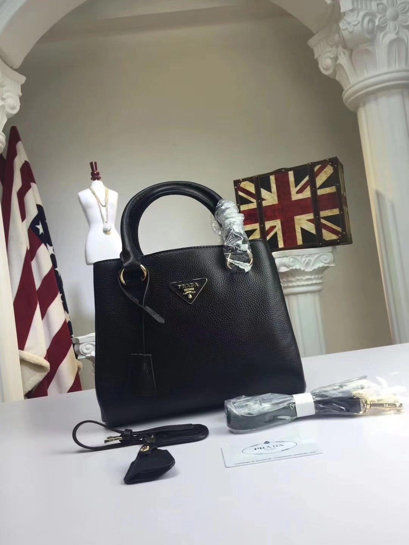 Prada Calf Leather Tote Double Leather Top Handle Bag Black