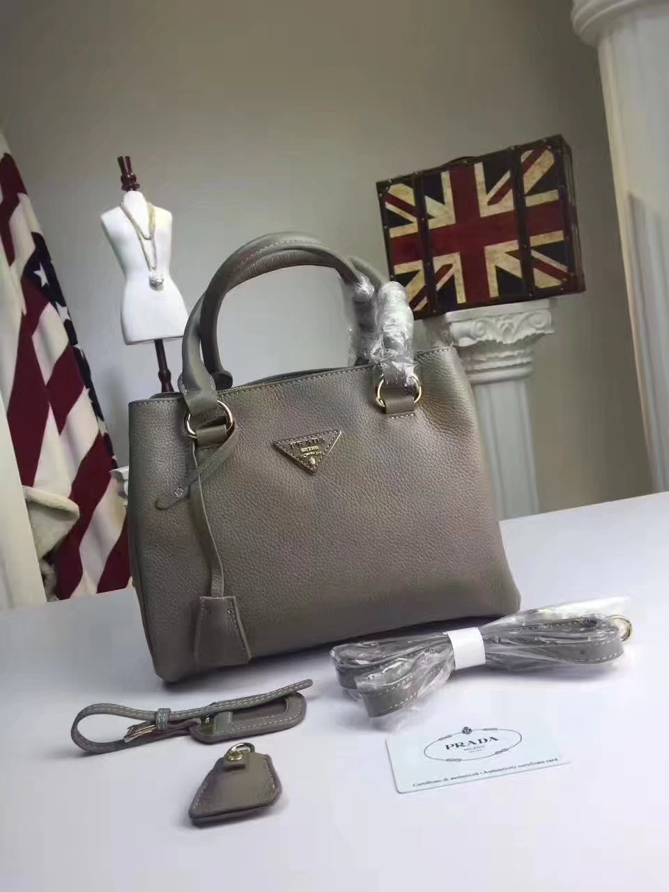 Prada Calf Leather Tote Double Leather Top Handle Bag Grey