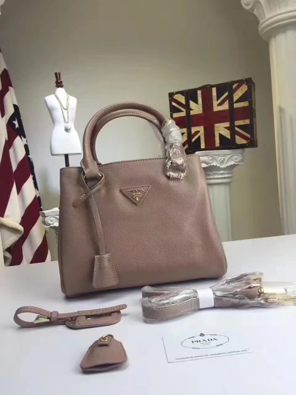 Prada Calf Leather Tote Double Leather Top Handle Bag Khaki