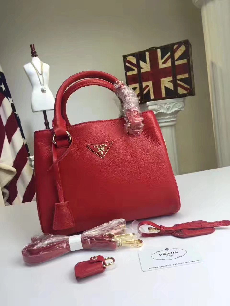 Prada Calf Leather Tote Double Leather Top Handle Bag Red