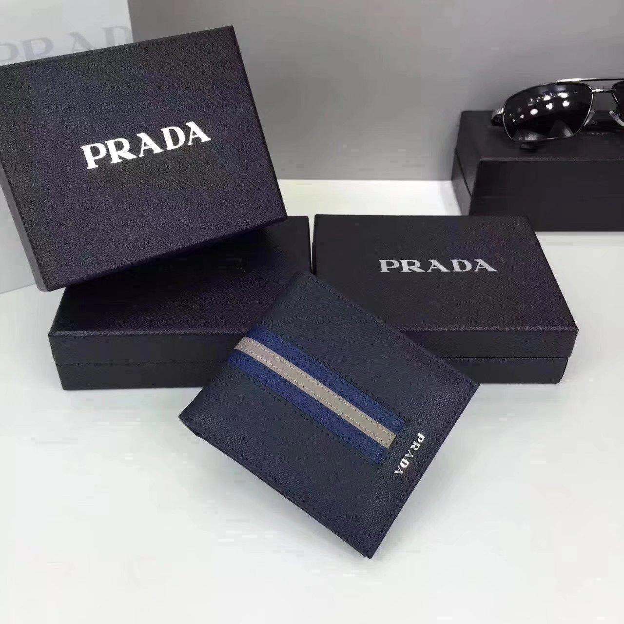 Prada F0002 Men Saffiano Leather Wallet with Intarsia Contrasting Color Blue