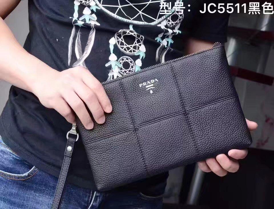 Prada JC5511 Leather Men Portfolio Bag Black