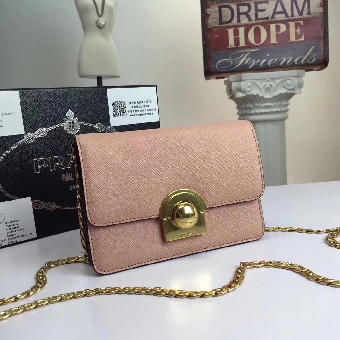 Prada Patent Leather Chain Shoulder Bag Pink
