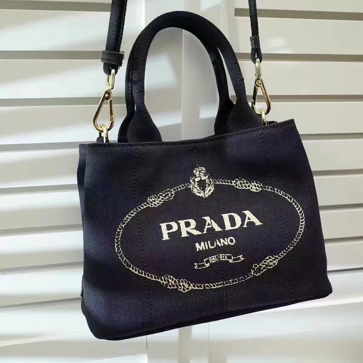 Prada Top Handle Canvas Cowboy Shopping Bag Black
