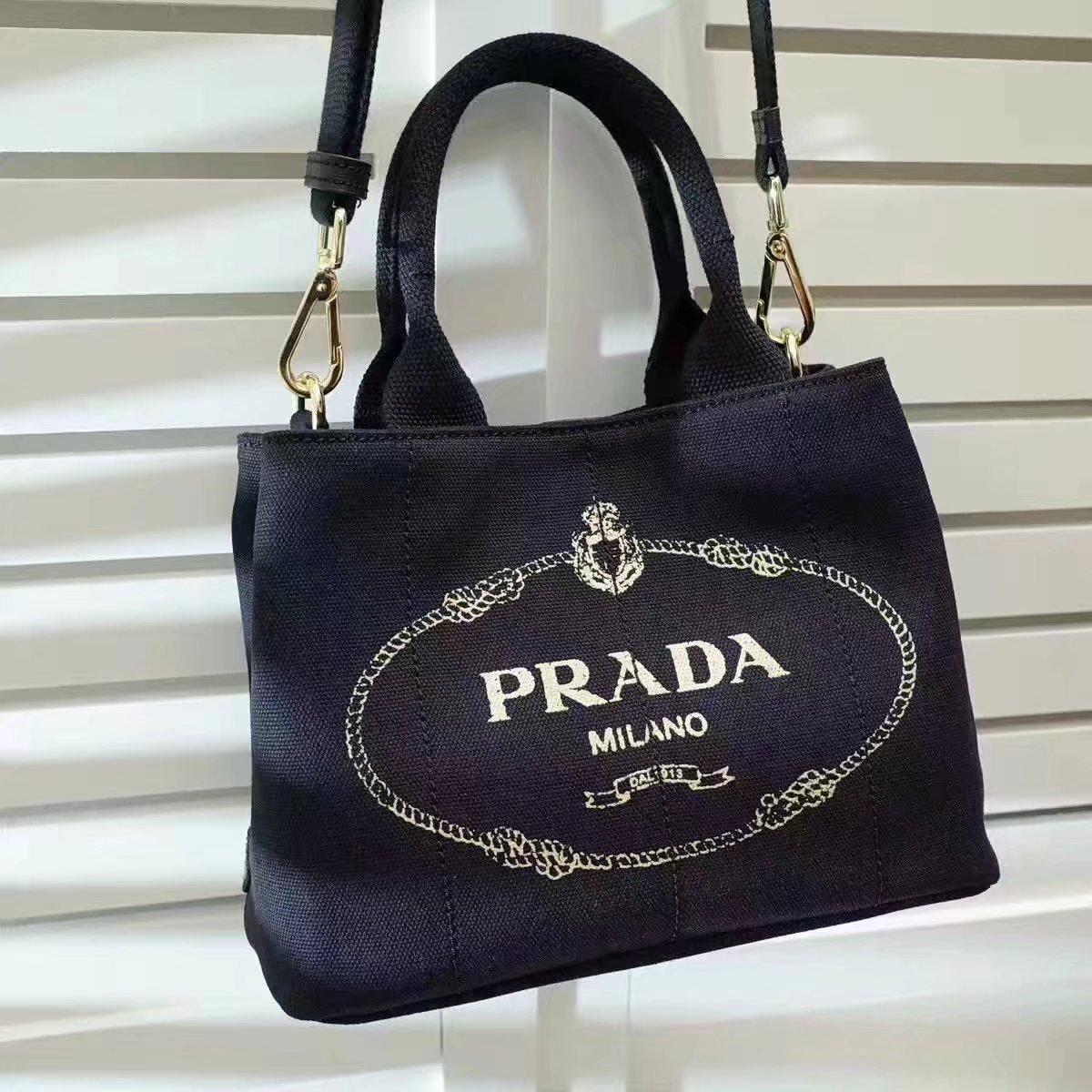 Prada Top Handle Canvas Cowboy Shopping Bag Black