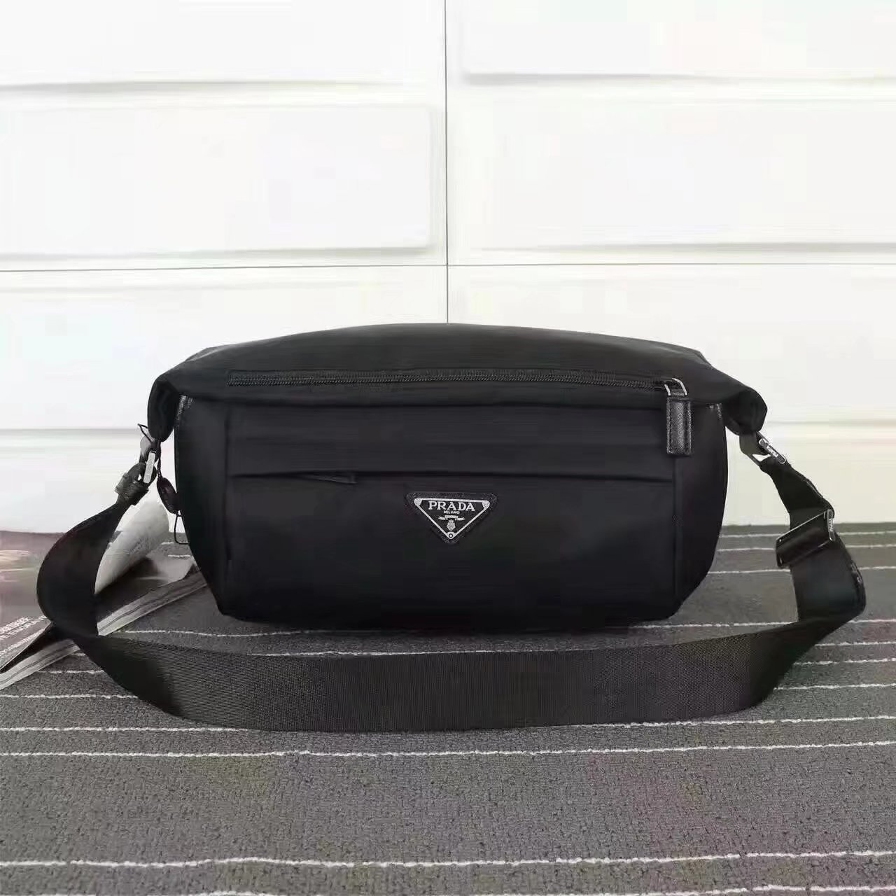 Prada VA991 Men Nylon Waist Bag Black
