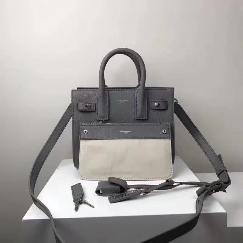Saint Laurent Baby Sac De Jour Souple Duffle Bag in Grey Moroder Leather