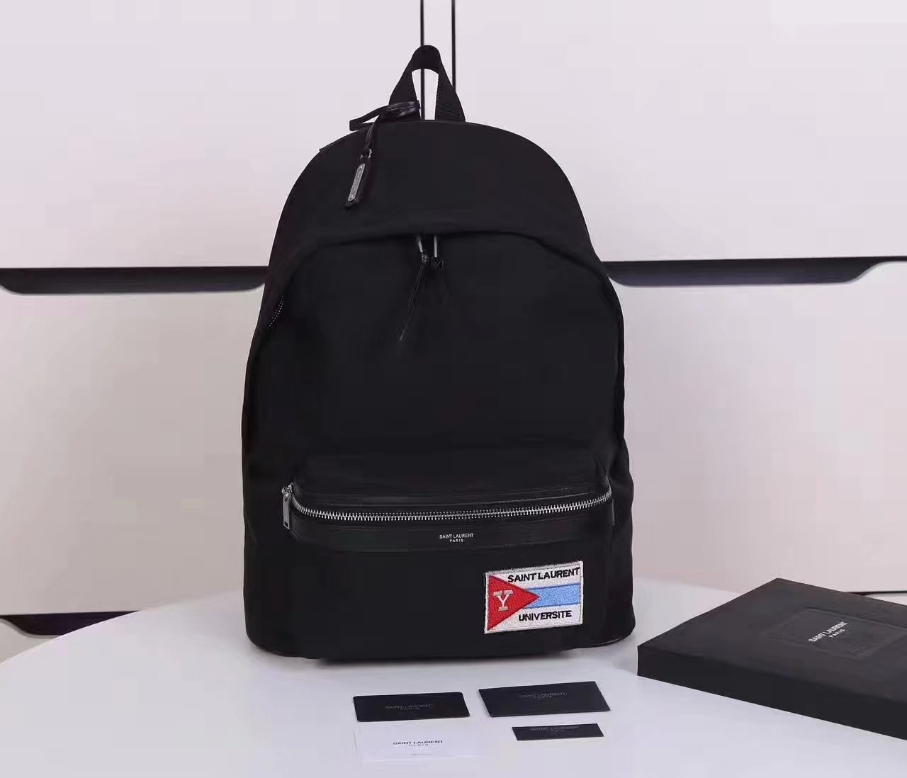 Saint Laurent City Backpack With Pocket Patch In Black Twill And Leather