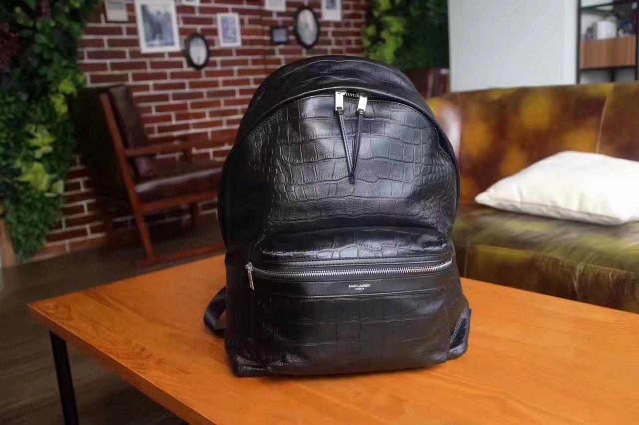 Saint Laurent Crocodile Grain Backpack Black
