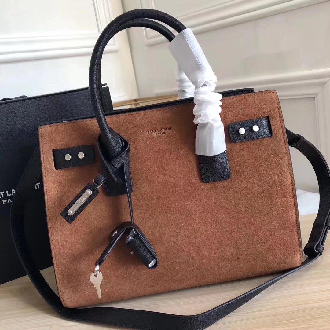 Saint Laurent Grained Retro Leather 32cm Sac De Jour Souple Bag in Coffee