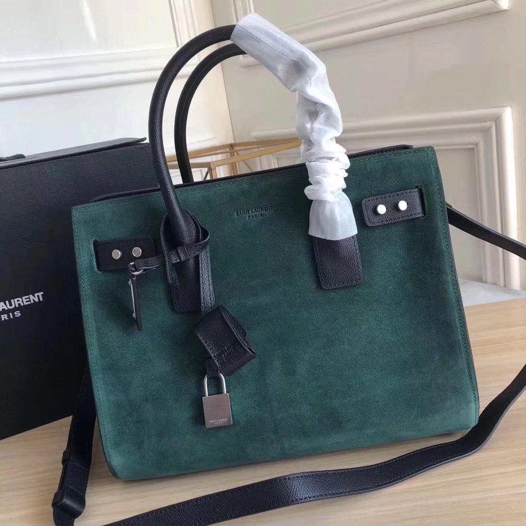 Saint Laurent Grained Retro Leather 32cm Sac De Jour Souple Bag in Green