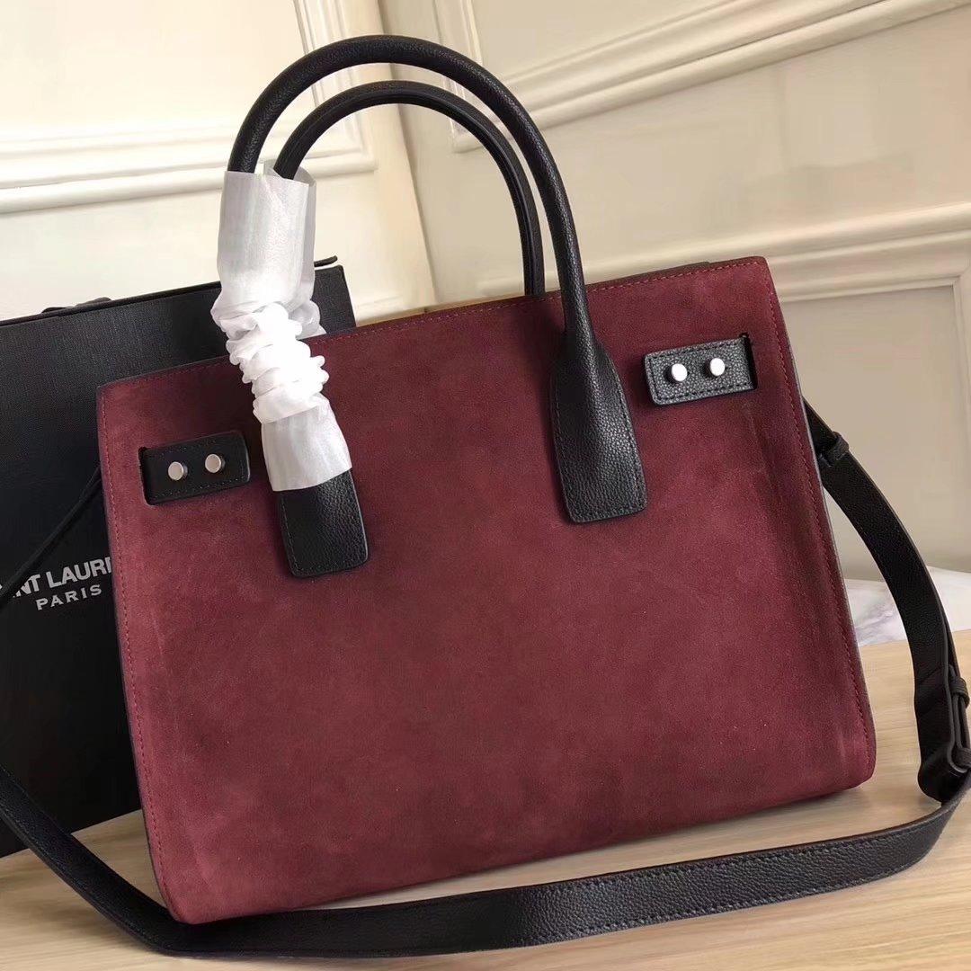 Saint Laurent Grained Retro Leather 32cm Sac De Jour Souple Bag in Red