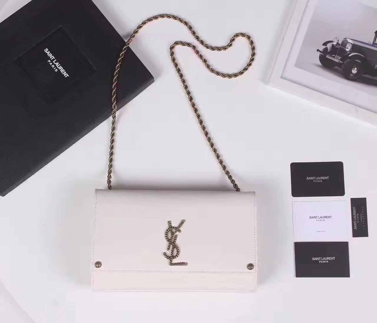 Saint Laurent Medium 24cm Leather Kate Bag White