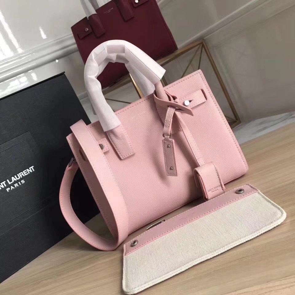Saint Laurent Small Baby Sac De Jour Souple Bag in Pink Grained Leather