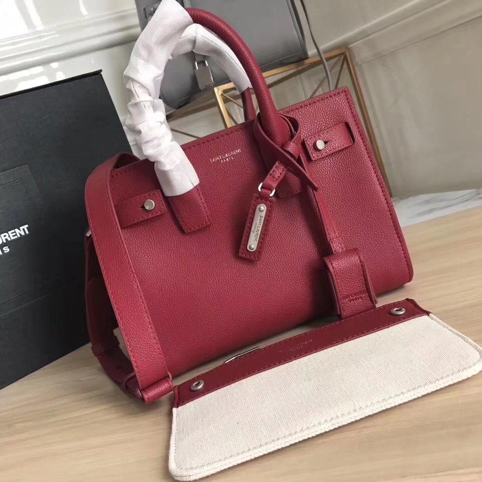 Saint Laurent Small Baby Sac De Jour Souple Bag in Red Grained Leather