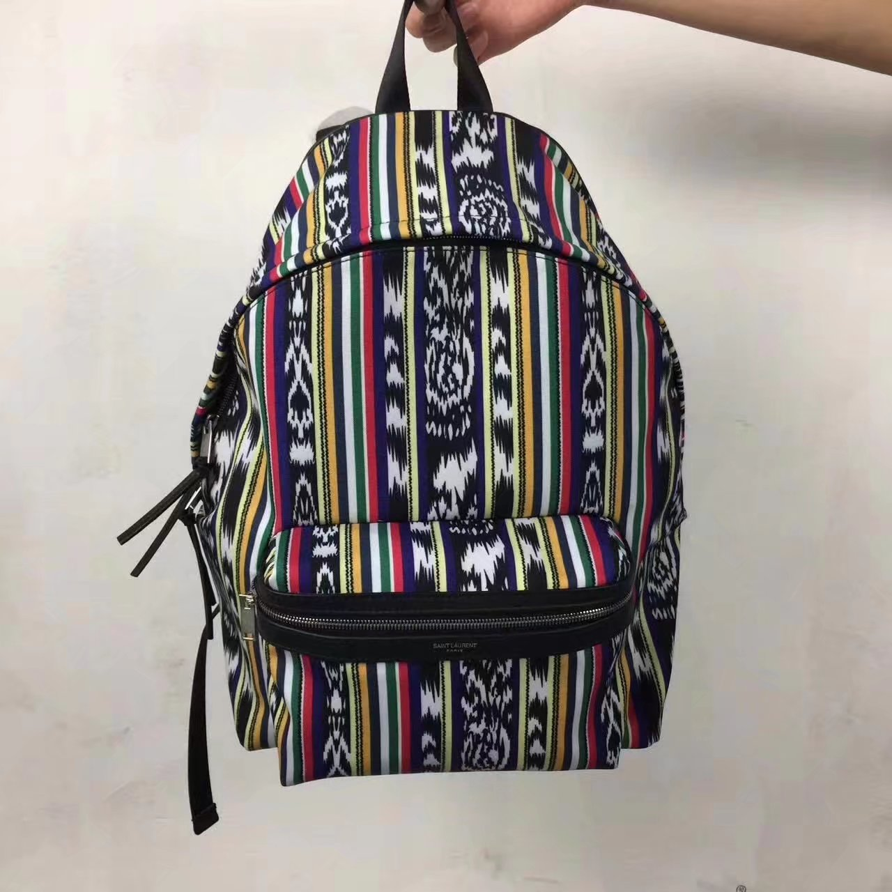 Saint Laurent Women City Backpack In Multicolored Ikat Canvas