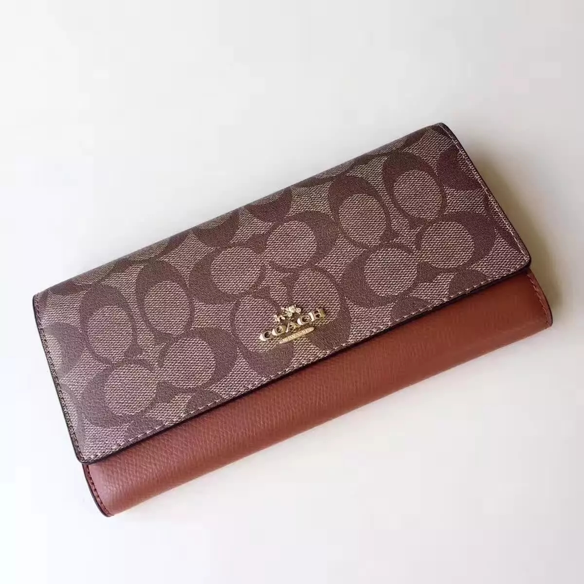 Top Qualiey Coach Women Long 3 Fold Wallet Camel