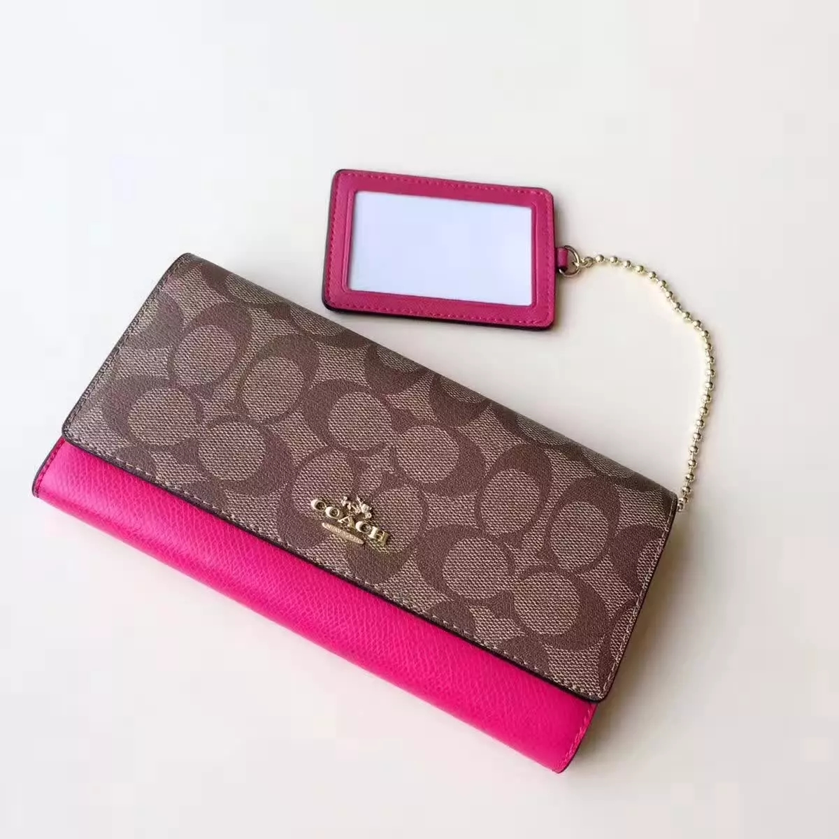 Top Qualiey Coach Women Long 3 Fold Wallet Red