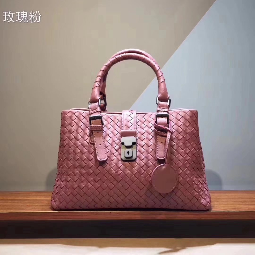 Top Quality Bottega Veneta Calf Leather Medium Roma Bag Pink