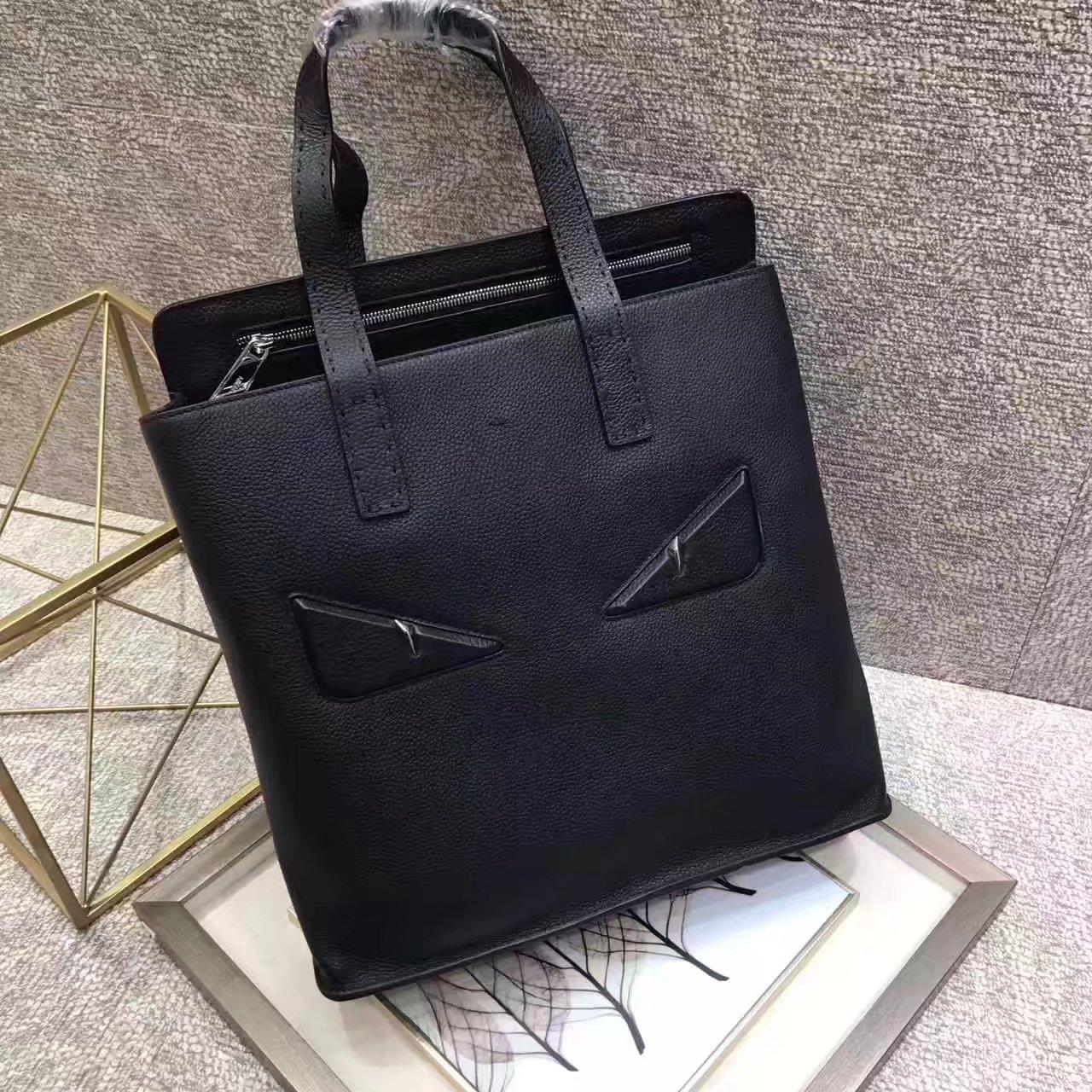 Top Quality Fendi Black Bugs Eyes Men Leather Briefcase