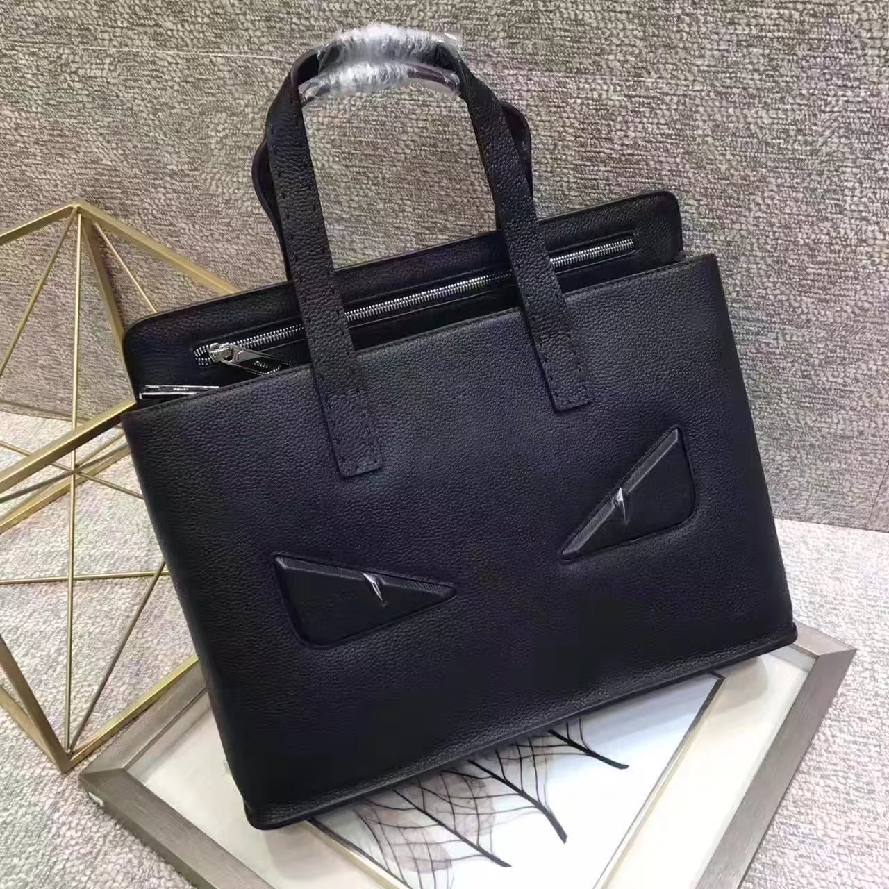 Top Quality Fendi White Bugs Eyes Men Leather Briefcase