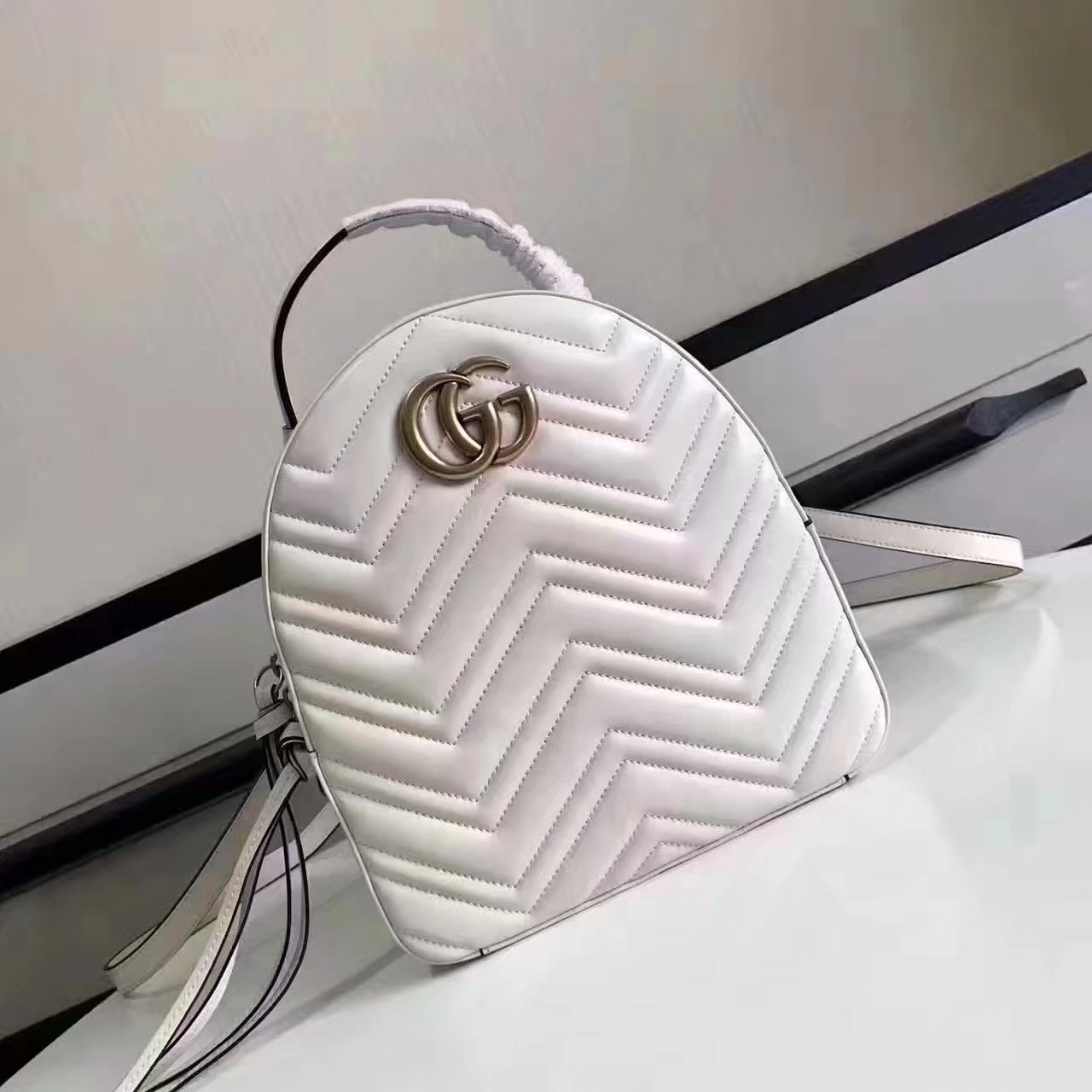 Top Quality Gucci 476671 GG Marmont Quilted Leather Backpack White