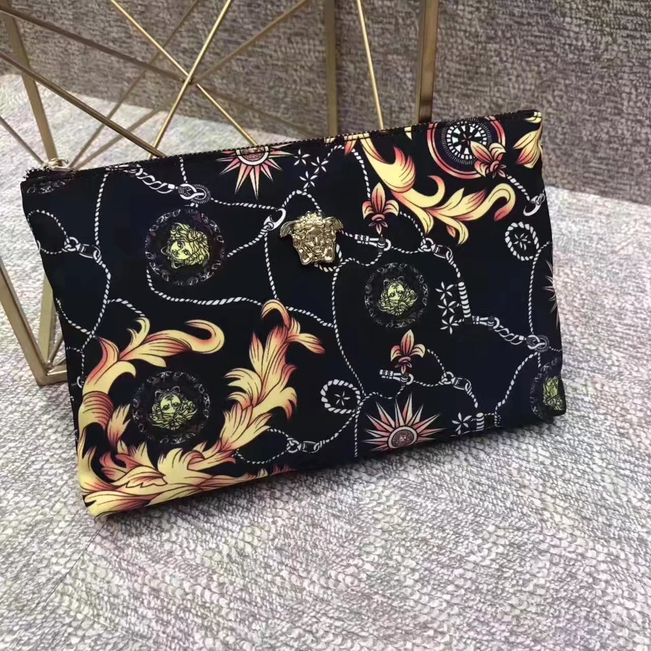 Versace Medusa Printing Leather Clutch Bag
