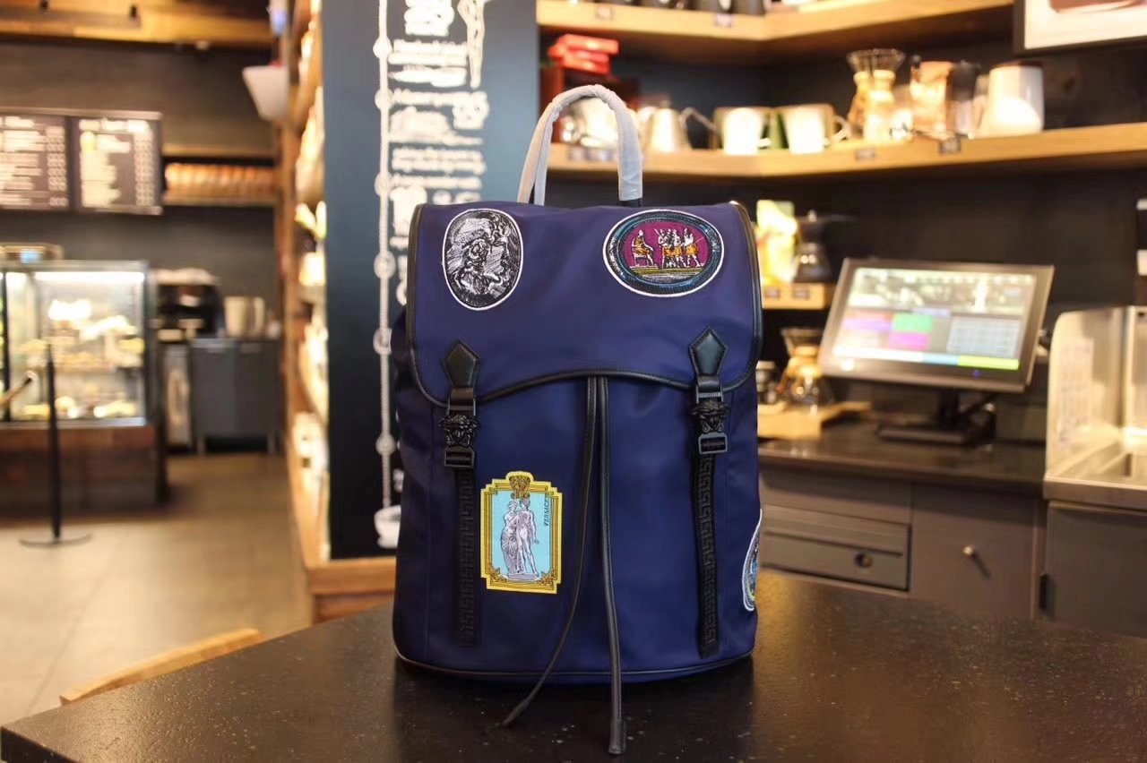 Versace Men Graffiti Nylon Backpack Blue