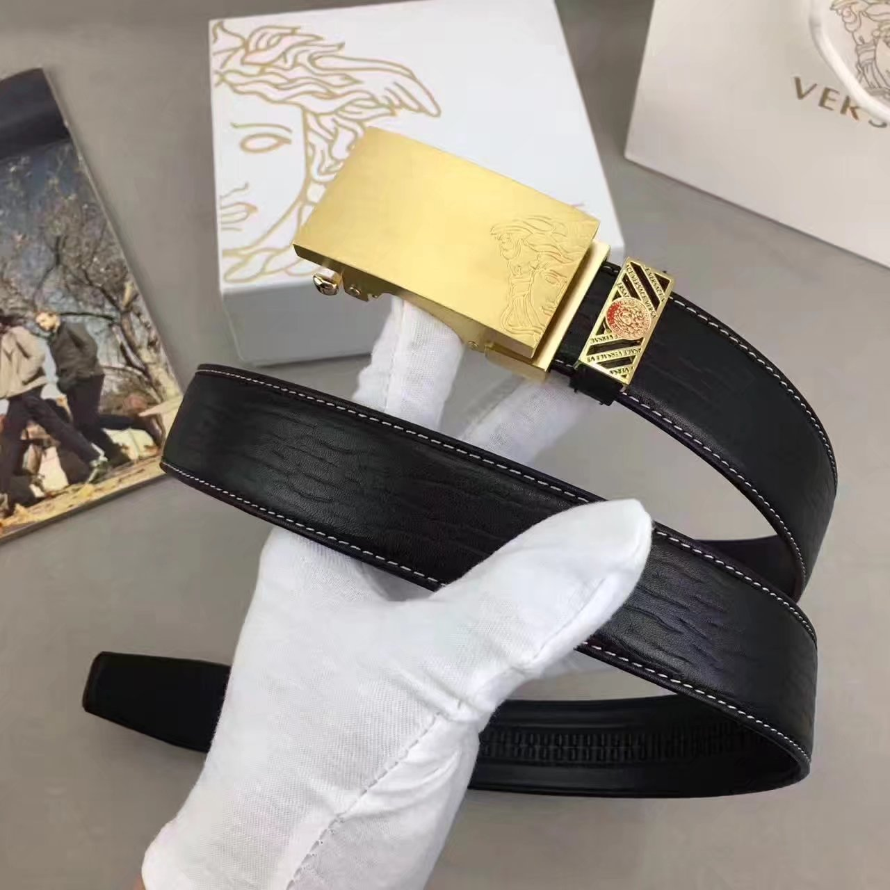 Versace Men Leather Belt With Gold Buckle 002