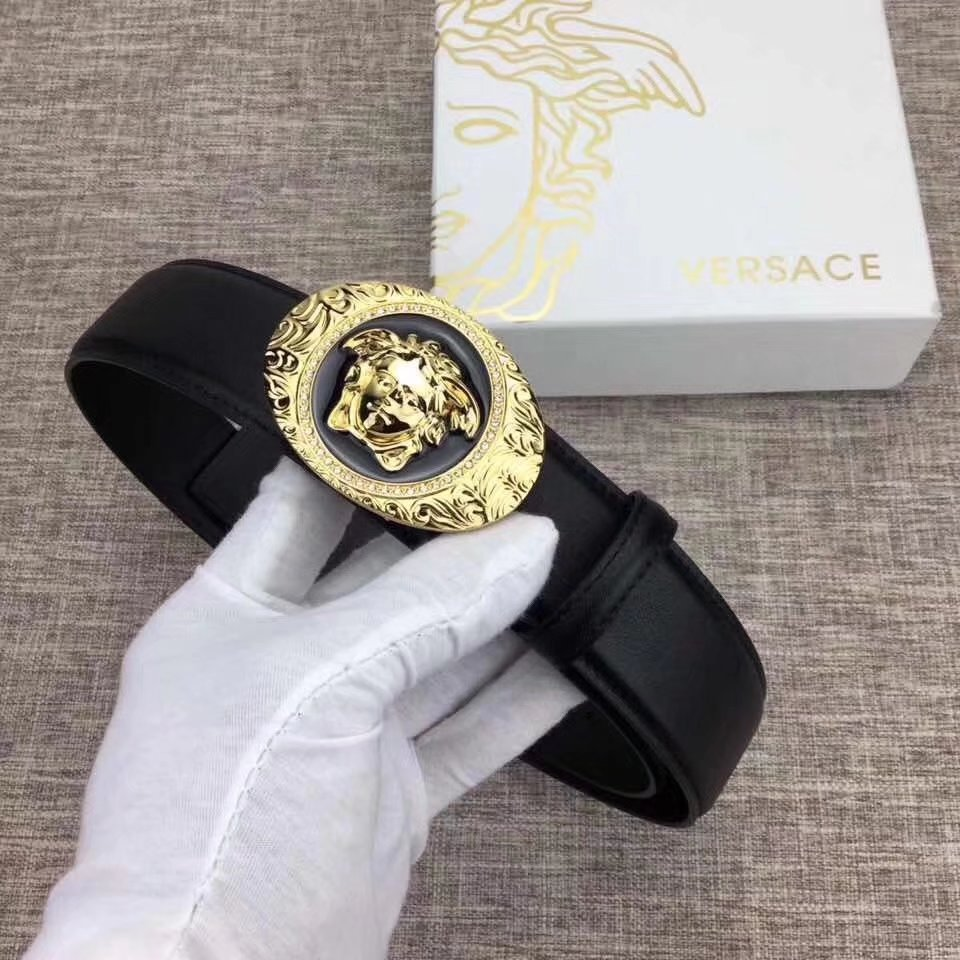 Versace Men Leather Belt With Gold Buckle 005