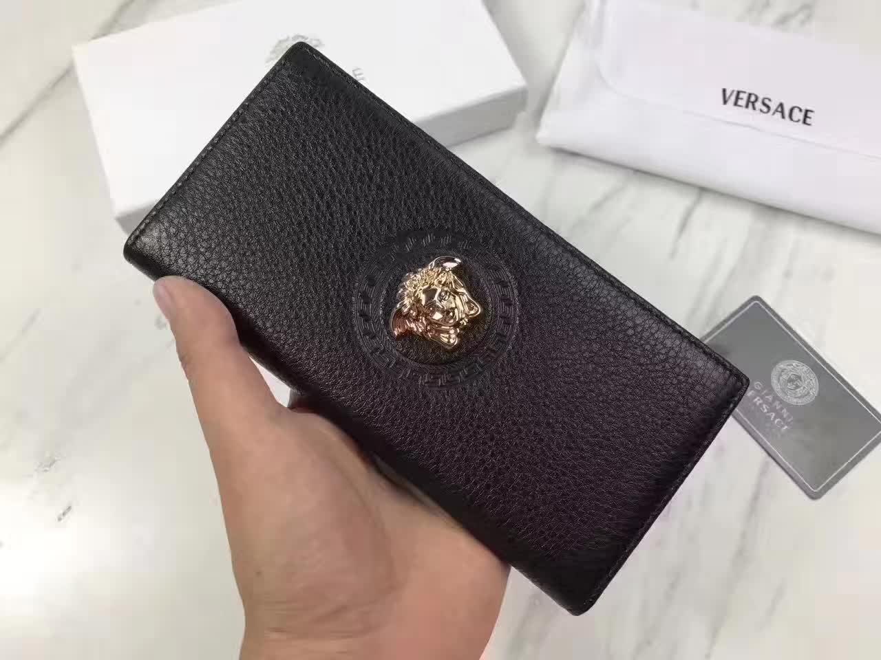 Versace Palazzo Calf Leather Men Long Wallet Black