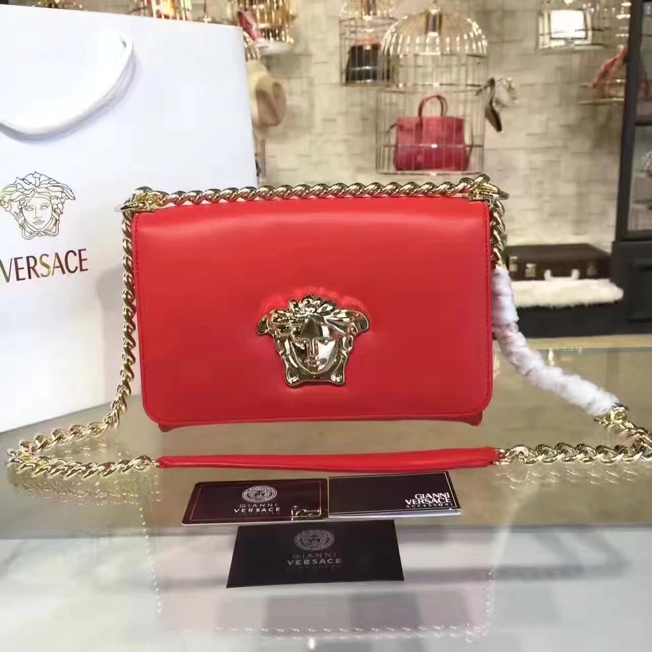 Versace Palazzo Evening Shoulder Bags Rose