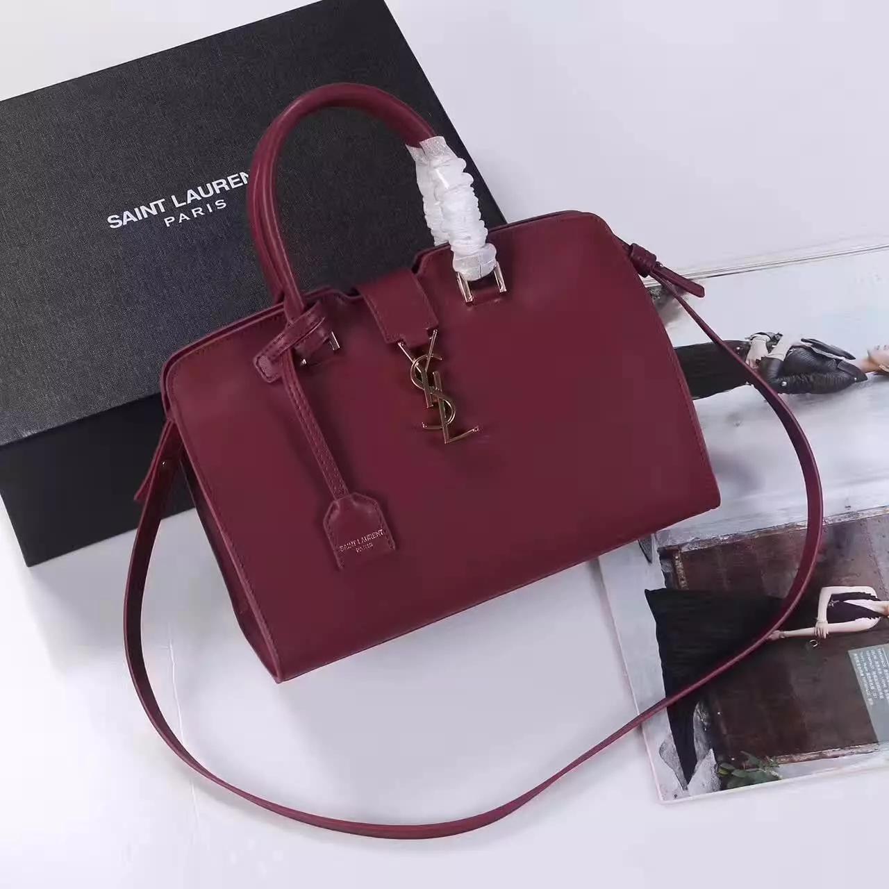 YSL Monogram Saint Laurent Cabas Bag Dark Red