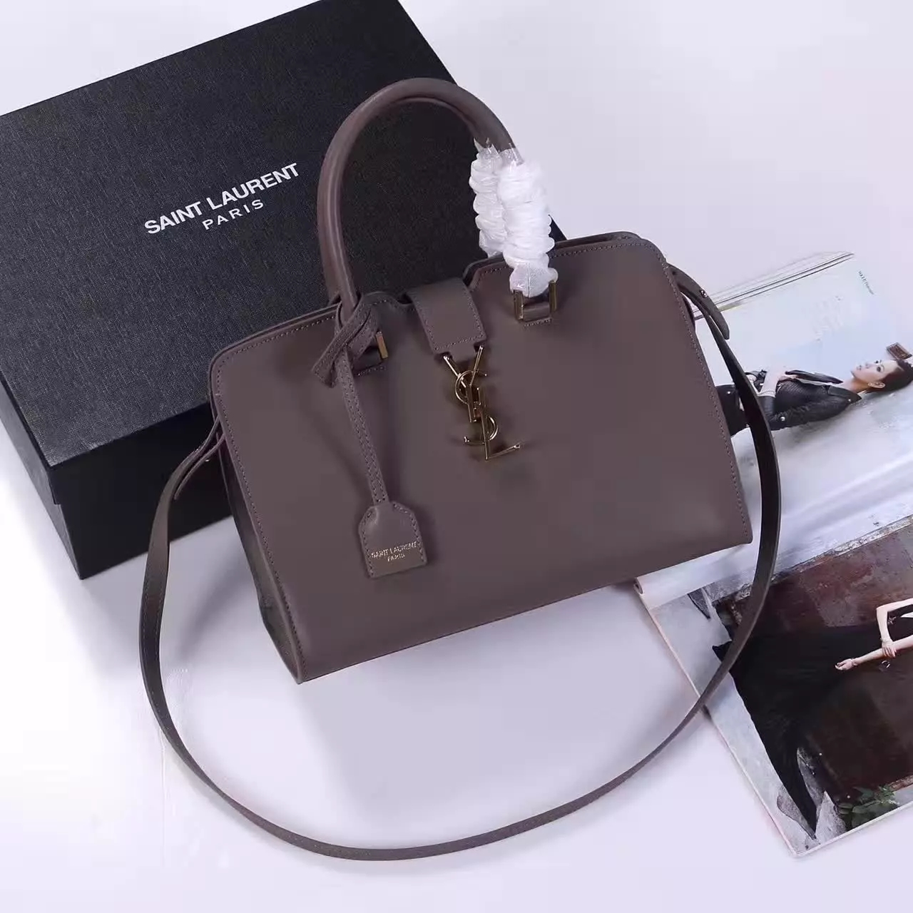 YSL Monogram Saint Laurent Cabas Bag Grey