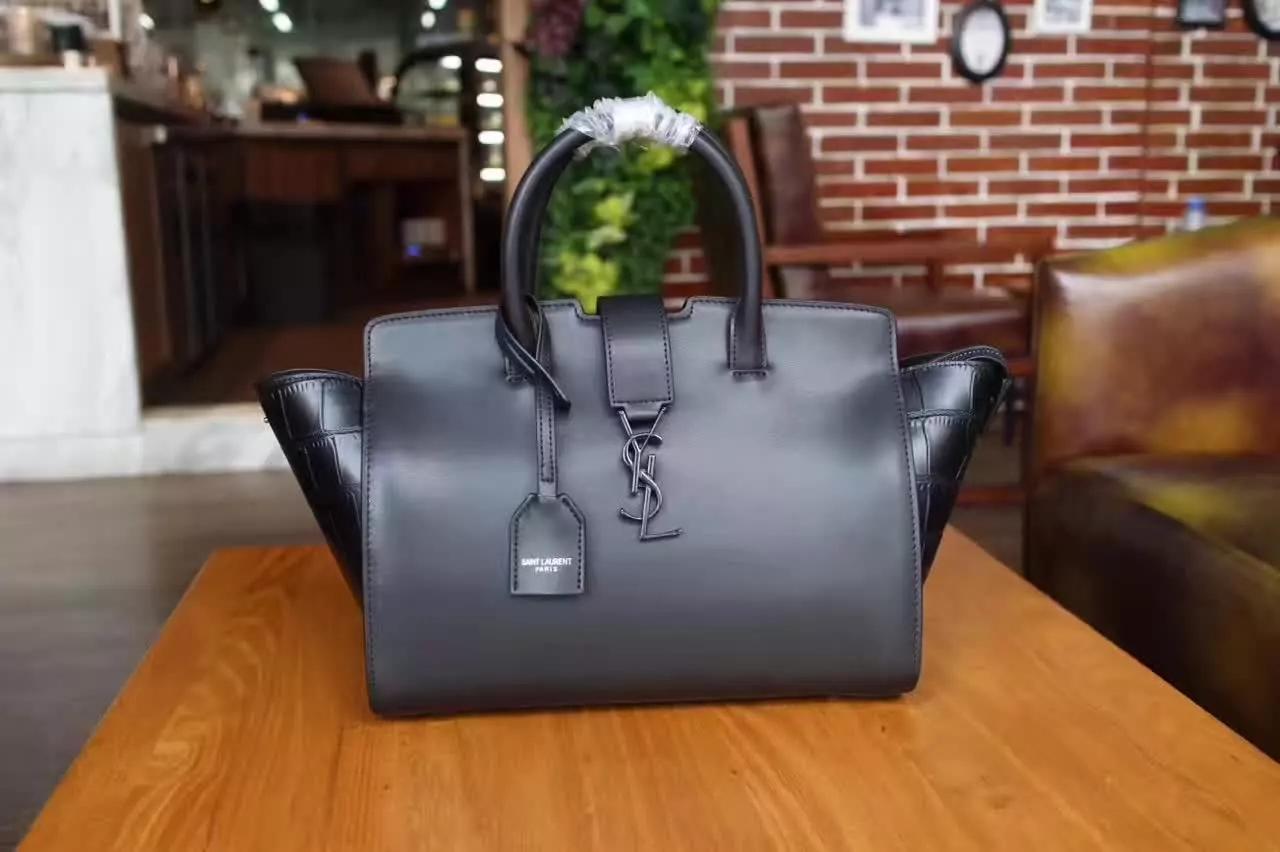 YSL Monogram Saint Laurent Downtown Cabas Bag Crocodile Grain Silver Gray