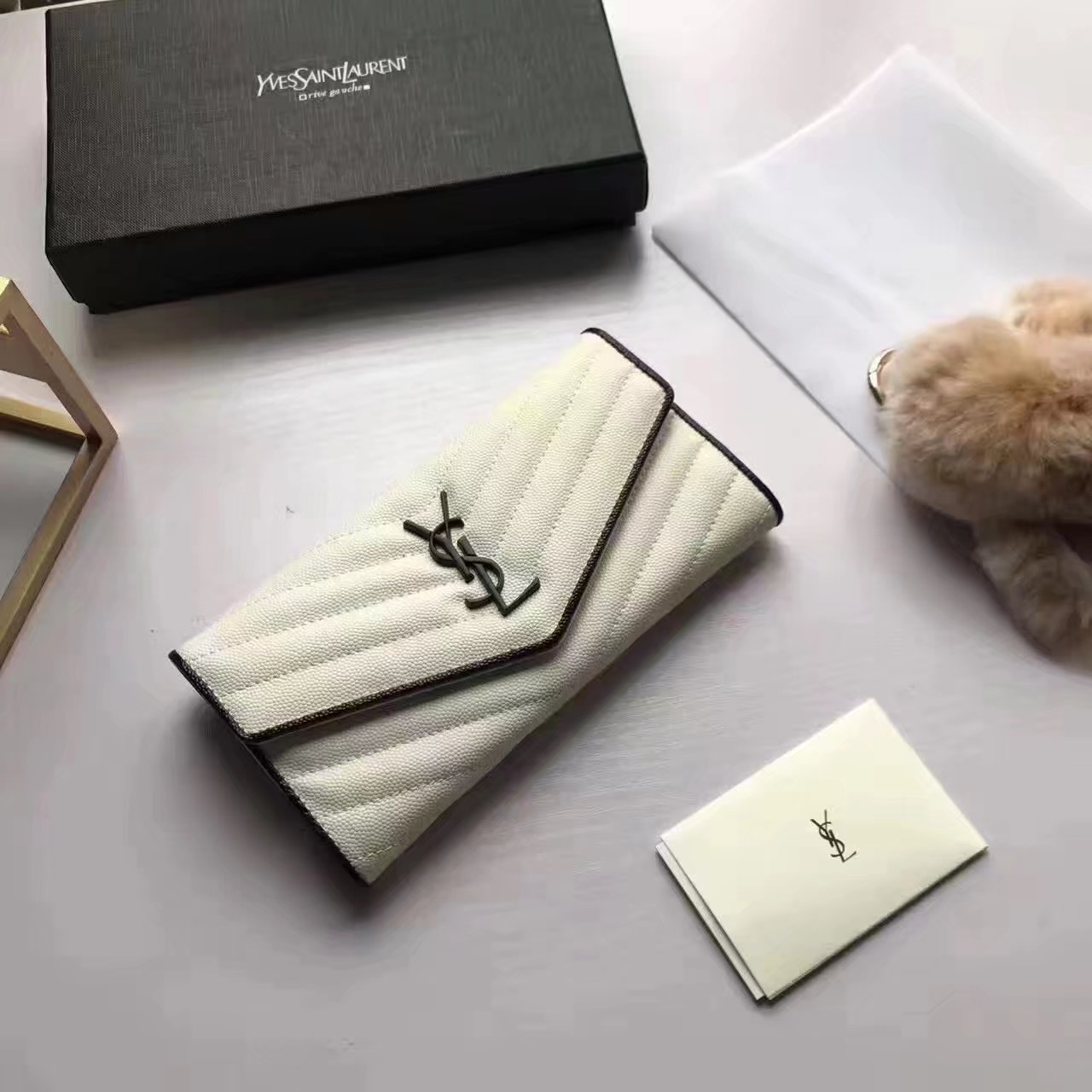 Yves Saint Laurent 2017 Fashion Flap Wallet White
